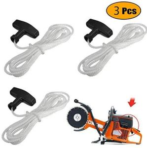 Poweka Tondeuse à gazon Pull Starter Handle Rope Recoil with Cord Line 1.1M for Petrol Starter Mower Engine Universal (Pack of 3)