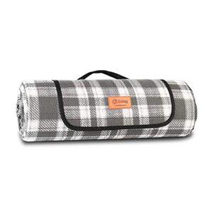 Sekey 200 x 200CM Couverture de Pique-Nique imperméable extérieure avec poignée Portable   Tapis de Picnic pour Camping composée de Trois Couches (200 * 170cm, Grille Grise)