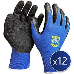 S&R 12 Paires de Gants de Travail 100% en Nylon et revêtement Latex. Gants de protection montage et assemblage Taille XL / 10