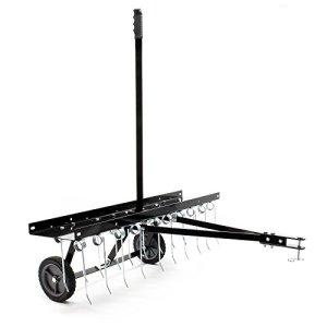WilTec Scarificateur Trainé pour Tracteur Tondeuse Largeur de Travail 100cm Roues en Caoutchouc 7