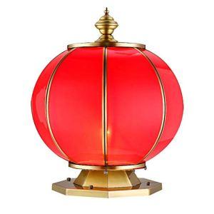 Zavddy-Home Lampe De Jardin Colonne étanche extérieur Colonne Lampe cuivre et Verre Eclairage de Jardin Éclairage Public Lumières De Poteau (Couleur : Rouge, Taille : XL)