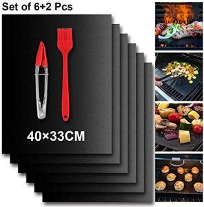 ZLCC BBQ Lot de 6 tapis de cuisson antiadhésifs réutilisables + 1 pinceau de barbecue + 1 pince de barbecue pour barbecue à gaz, barbecue à charbon de bois, barbecues et pâtisseries.