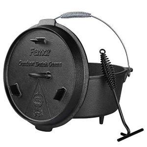 Femor 8L Dutch Oven, Four Néerlandais, Casserole en Fonte, rôtissoire avec soulève-Couvercle et Poignée, Pré traités et guéris, avec poignée en Spirale, pour Barbecue, rôtissage, Cuisson