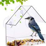 Fenêtre Mangeoire Fenêtre Transparente Hanging Mangeoire Avec Ventouse Comprend 21 Trous De Drainage À L'alimentation Des Semences Plateau, 3 En Verre Ventouse Accessoires De Montage Et Oiseaux,Clear
