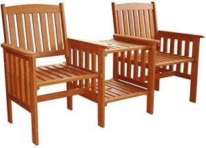 Garden Mile® Chaise de jardin en bois dur avec table