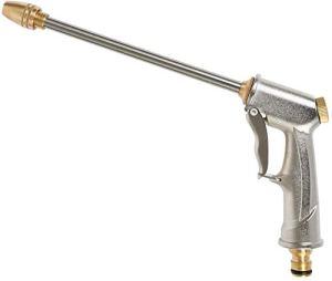 GLR Pistolet d'arrosage Haute Pression avec buse en Laiton, pulvérisateur à Main en métal Robuste pour Lavage de Voiture/arrosage de pelouse et Jardin Argenté