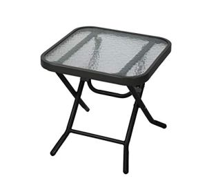 Havnyt Table d'appoint Pliante d'extérieur en métal résistant aux intempéries Noir