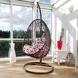 Kideo® Ensemble complet : fauteuil suspendu avec structure et coussin de siège, intérieur et extérieur, rotin synthétique, meubles en rotin (marron/rouge/blanc)