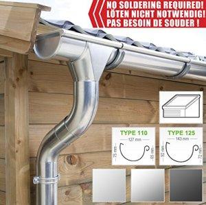 Kit gouttière zinc pour un versant | en zinc naturel/titane/anthracite (RAL7024) | Idéal pour véranda ou chalet de jardin ! (Kit complet jusqu'à 10.20 m [Type 125], Acier galvanisé)