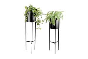 LIFA LIVING Support pour Plante intérieures, Lot de 2 Supports de Pot de Fleur intérieur Design en métal Noir