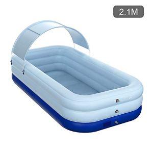 Likeitwell Piscine familiale de luxe rectangulaire pour enfants, facile à monter, avec parasol, 318 x 180 x 68 cm, bleu, 318 x 180 x 68 cm