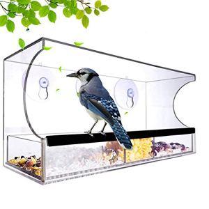 Mangeoire, acrylique fenêtre Mangeoire avec plateau amovible semences Comprend 64 trous de drainage,Clear