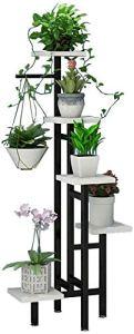MTBH Présentoir de Plantes en métal, Support de Jardin 5 Pot de Plantes en Plein air Support de Stockage de Jardin Balcon de Salon intérieur Noir