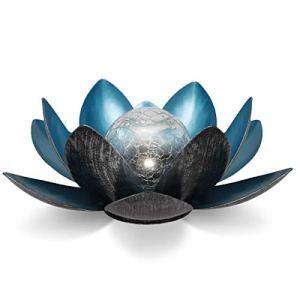 Navaris Lampe Solaire Fleur de Lotus – Fleur LED Lumineuse Rechargeable par Énergie Solaire – Décoration Écologique Jardin Étang – Blanc Froid