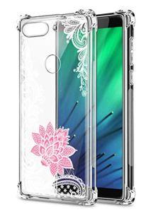 Oihxse Transparent Coque pour Xiaomi Mi 8 Lite Souple TPU Silicone Protection Etui Air Cushion [Shock-Absorption] [Anti-Rayures] Fleurs Motif Housse Bumper (B5)