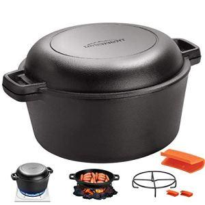 Overmont Dutch Oven Pot en Fonte prêt à l'emploi Couvercle/poêle à Double Fonction avec Support pour Cuisine Camping Garden BBQ