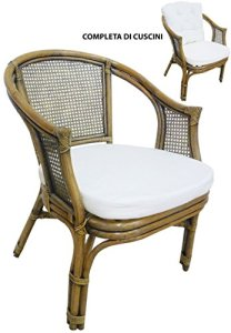 Savino Fiorenzo Fauteuil Chaise en rotin Bambou jonc Vienne rotin Marron Noyer avec Coussins pour Maison Chambre Salon Bar Bamboo