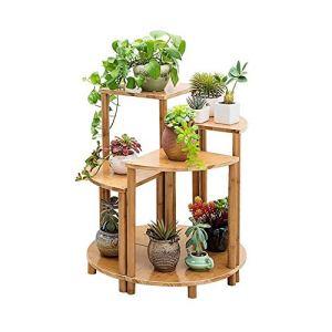 Stand de fleurs 4 Pièces Bois supports for plantes d'intérieur extérieur Plante étagère fleurs Tablettes d'affichage for Patio Jardin Balcon Coin Salon (40cm de haut, 50cm de haut, 60 cm de haut, 70cm