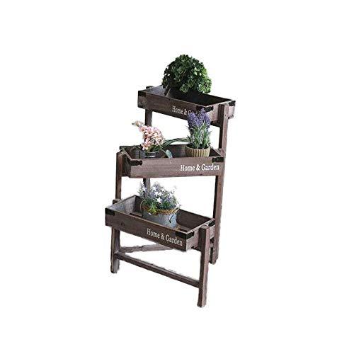 Stand de fleurs Vintage 3 Tier pliant usine de jardin en bois Support Antique Planteur Style rustique Crates for Affichage Décoration Théâtre Herbes Arbustes Fleurs étagères Intérieur Extérieur Présen