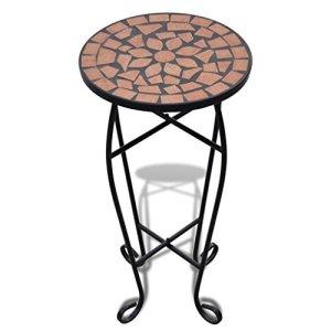 vidaXL Table d'appoint Motif mosaïque Terre Cuite Sellette mosaïque Support Plantes