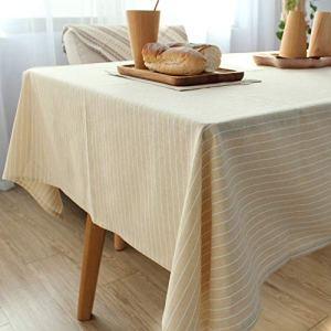 YOUYUANF Nappe rectangulaire plastiqueen napperonTable rayée Simple en Coton et Lin Rayures Simples Couleur Unie Table Basse Simple Table basse130x130cm
