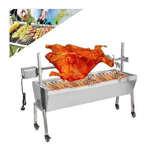 200KGF Portable Barbecue à Charbon Automatique Électrique, Kit de Gril pour Barbecue Rôtissoire de Camping en Plein Air, Pliable Grand Gril en Acier Inoxydable pour Rôtissoire de Porc Agneau de Porc