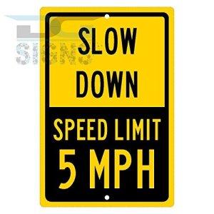 5MPH Speed Limit Sign–Jaune de Ralentissement en aluminium plaque métal Signes Boîte signalisation vintage plaques Signs decorative plaque