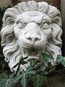 antikas–Grande Pierre Tête de Lion Blanc Lion Fontaine Décoration, Gargouille comme Antique