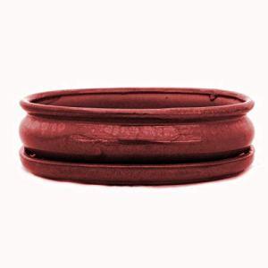 bonsaï Bol avec soucoupe gr. 3–Ovale O47–Rouge–L 19cm–L 13,5cm–H 5cm