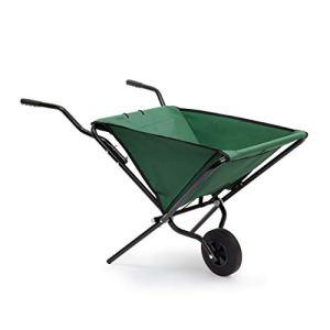 Brouette pliable 66x 64x 112cm chariot en acier pliable avec polyester solide, chariot de jardin peu encombrant, brouette de jardinage, peut contenir jusqu'à 30kg, couleur vert par Relaxdays