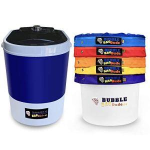 BUBBLEBAGDUDE Machine à sacs à bulles 5 gallons – Kit de mélange de 5 sacs – Mini lavage portable 5 gallons – Système d'extraction pour essence de plantes – Avec sac à fermeture éclair 220 microns, écran pressant et sac de rangement