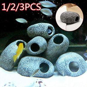 d8on6hh87gfjohy Cichlidés Pierre Cave Aquarium Aquarium Aquarium Aquarium Poisson Étangs Décoration Crevettes Élevage Céramique, 2pcs