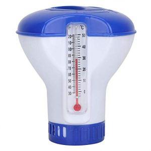 Distributeur de chlore flottant en plastique ABS de 5 pouces – avec thermomètre – Flotteur de tablette à libération réglable de grande capacité pour piscine intérieure et extérieure SPA, bleu et blanc