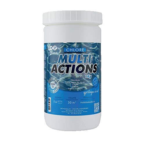 EDG Chlore Multi Actions Piscine – Galets 250g – Pot de 1kg – Chlore Multi Fonctions Piscine Longue Durée
