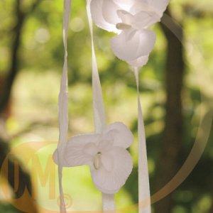 Fleur orchidée sur tige ( lot de 6 fleurs )-ivoire