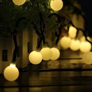 Guirlande Lumineuse Exterieur Lampe Solaire, 60 LED 10M Étanche IP65 avec 8 Modes Eclairage d'Ambiance Jolies Décoration Lumière pour Jardin Terrasse Clôture Cour Maison Fête Noël Chaud