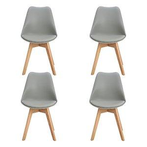 H.J WeDoo Lot de 4 chaises de salle à manger scandinaves, Chaises Rétro Tulip bois de hêtre massif- Gris