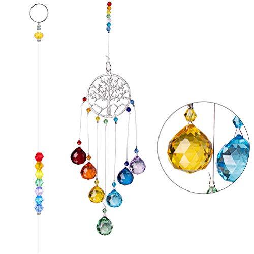 Kousa – Décoration en verre – Prismes colorés – Attrape-soleil – Créateur arc-en-ciel – Boule de cristal à suspendre – Pour fenêtre de jardin