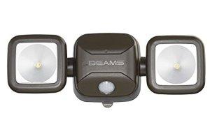 Mr. Beams MB3000haute performance, sans fil, alimenté par piles LED, Détection de mouvement, Sécurité à faisceaux lumineux double tête, 500lumens, Plastique, marron, 1-Pack