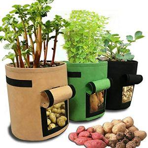 PUNGDUNK Mise en Pot Grandes rectangulaires Grow légumes Sacs Jardin Pépinière Plantation Groot Pot de Fleurs Anti-Corrosion Feutre Non-tissé Sac Planters (Color : Black with Hole)