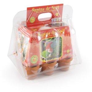Radis et Capucine Culture Sapin Benjamin Le Lutin Serre de Noël en plastique 6 pots en terre cuite avec 6 sachets de graines Multicolore, 5 x 5 x 5 cm