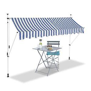 Relaxdays Auvent rétractable 300 cm Store Balcon Marquise Soleil terrasse Hauteur réglable sans perçage, Bleu-Blanc
