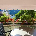 Relaxdays Auvent rétractable 300 cm Store Manuel Balcon Marquise Soleil terrasse Hauteur réglable sans perçage, Beige, 300 x 120 cm