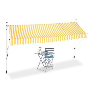 Relaxdays Auvent rétractable Store 400 cm Balcon Marquise Soleil terrasse Hauteur réglable sans perçage, Jaune-Blanc, 400 x 120 cm