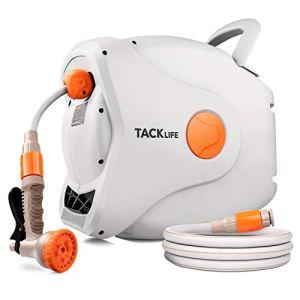 TACKLIFE [Nouveau Type Améliorée Enrouleur de Tuyau Arrosage, Tuyau de 30+2m, Buse de Tuyau à 7 Motifs, Connecteur en Laiton, Pivot à 180 Degrés
