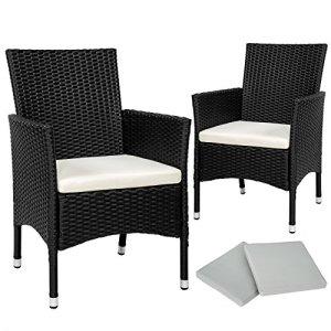 TecTake 2x Chaise de jardin en poly rotin résine tressé + coussin + deux set de housses, vis en acier inoxydable noir