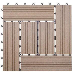 11x carreau WPC Rhone, carrelage de sol, balcon / terrasse, à 30x30cm = 1qm ~ teck décalé