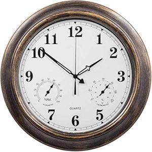 AMZYY Horloge Murale D'extérieur – Horloge Jardin étanche De 45 Cm avec Thermomètre Et Hygromètre