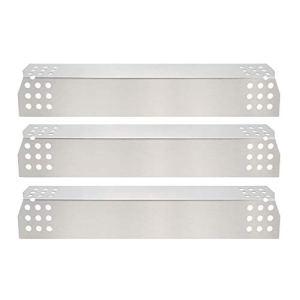 Bar.b q.s. 97371 (3 paquets) Plaque chauffante en acier inoxydable, pare-chaleur, tente chauffante, couvercle de brûleur, barre de vaporisateur, et barres aromatisantes Remplacement pour Grill Master 720-0697, 720-0737 et modèles de gril à gaz Uberhaus 780-0003 (369.8mm