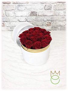Boîte cylindrique blanche avec roses stabilisées de différentes couleurs. Rose Rosse